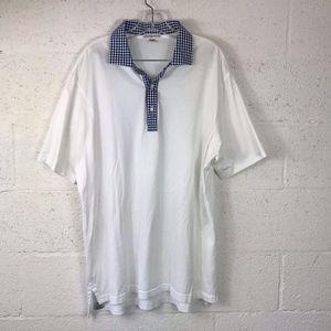 Peter Millar4 White Polo Shirt, Collared Checkers